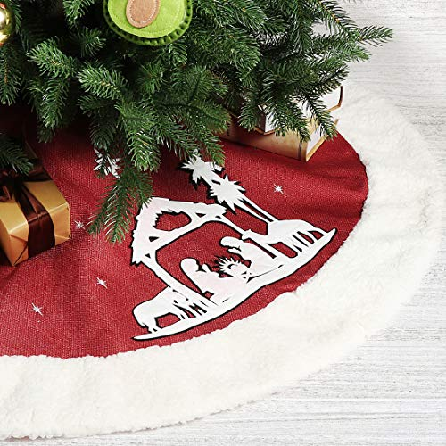 EDLDECCO Christmas Tree Skirt 48 Inches Red Burlap Nativity Scene Holy Family Applique Faux Fur Trim Large X'Mas Holiday Party Decor Ornaments (Red)