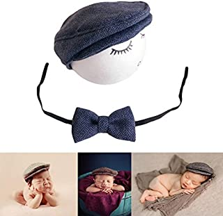 49cc239fd Baby Photography Props Monthly Boy Photo Shoot Outfits Infant Flat Cap  Gentleman Hat Bowtie