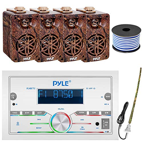 """Pyle Double DIN AM FM Stereo MP3 USB AUX Bluetooth Marine Power Receiver Bundle Combo with 2 Pairs of 3.5"""" 3-Way 200W Indoor Outdoor Camouflage Speakers, Rubber Mast Antenna, 18 Gauge Speaker Wire"""