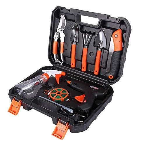 Juego de herramientas de jardín, herramientas de jardín, herramientas de jardín, mango ergonómico antideslizante, regalo para los amantes del jardín, 10 unidades (negro)