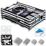 Bruphny Caja para Raspberry Pi 4, Caja con Ventilador + 3 × Disipador para Raspberry Pi 4 Modelo B (No Incluye la Placa Raspberry Pi)