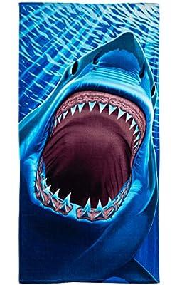 Dawhud Direct Great White Shark Teeth Super Soft Plush Cotton Beach Bath Pool Towel