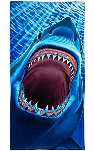 Great White Shark Teeth Super Soft Plush Cotton Beach Bath Pool Towel