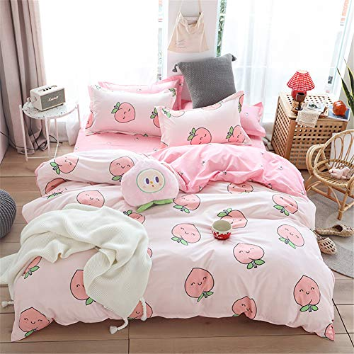 Meiju Bedding Set 3 Pieces, Fruit Printing Quilt Duvet Covers and 2 Pillowcases Single Double Super King Size Bed Microfiber Polyester Breathable Zipper Easy Care (Cute peach,220x230cm)