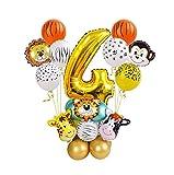 Ysguangs Globos La Fiesta de cumpleaños de los niños Globos 27pcs Animal de la Selva Conjunto Feliz cumpleaños Decoraciones decoración Digital Foil Globos (Color : 4)