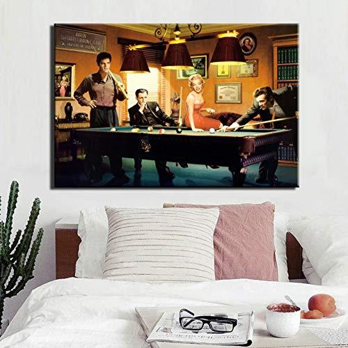 EXQART 3D-Druck Leinwandmalerei Moderne Klassische Plakat-Leinwand-Malerei Elvis Spielen Billard-Wandkunst-Porträt-Bild Wohnzimmer Schlafzimmer Dekoration Geschenke-60x80cm