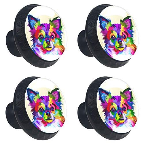 Kleurrijke Chihuahua hond dressoir kristallen knoppen - glas kristallen lade knoppen Trekken kabinet handvat voor thuis keuken kast