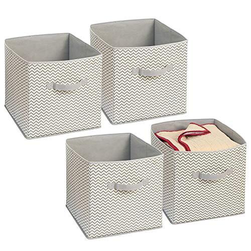 mDesign 4er-Set Stoffbox für Schrank oder Schublade – 34 x 32 x 32 cm – ideale Aufbewahrungsbox für Wäsche, Accessoires etc. – flexible Stoffkiste mit Zick-Zack-Muster – taupe/natur