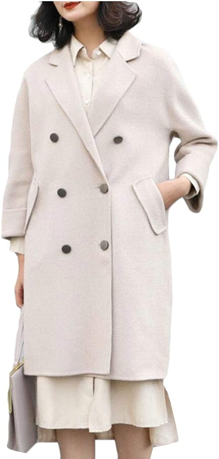 UNINUKOO Unko Women's Fashion Trench Coats Double Breasted Wool Blend Peacoats
