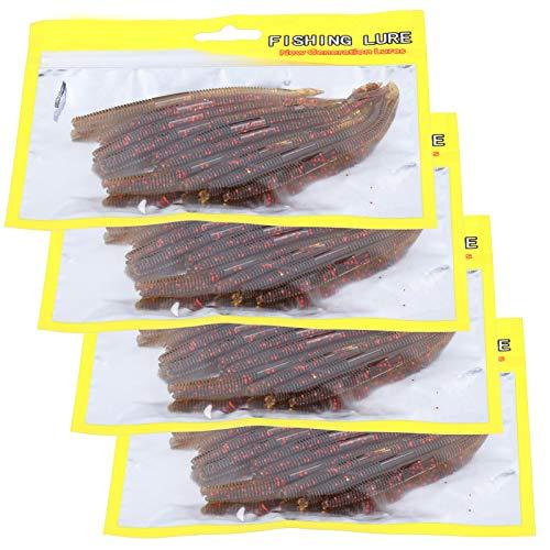Paquete de 40 Piezas de Silicona Suave con Forma de lombriz de Tierra señuelo de Pesca Cebo simulación Artificial Aparejos de Pesca Accesorio