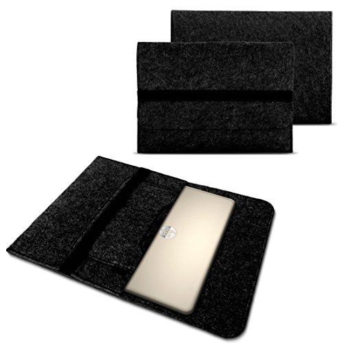 NAUC Tasche Hülle für Laptop Case Ultrabook Cover Notebook 15-15.6 Zoll Filz Sleeve Schutzhülle aus strapazierfähigem Filz, Farben:Dunkel Grau, Notebook:Fujitsu LIFEBOOK A557