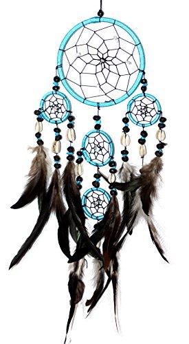 Hejoka-Shop EDLER Indianer Traumfänger 11,5 cm. 40 cm. lang Dreamcatcher mit Kaurimuscheln und Bergkristall-Steinchen im Netz TÜRKIS
