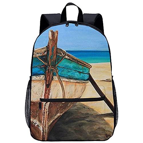 Mochila al aire libre Barco de playa Mochila escolar para niñas Mochila de ocio de moda para mujeres, adolescentes, bolsa impermeable, cartera, mochila con compartimento para computadora portátil