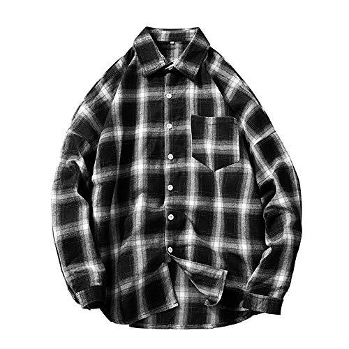 Camisa de Manga Larga Relajada a Cuadros para Hombre Ocio Diario Camisas de Bolsillo a Juego de Tendencia cómoda para Todos los Partidos Primavera y otoño XXL