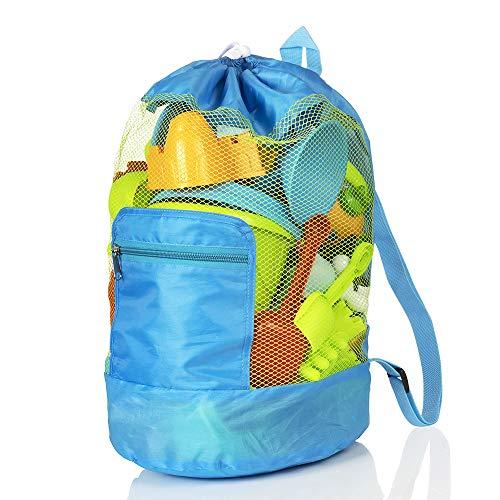 MOOKLIN ROAM Bolsa Grande de Malla para Juguetes de Playa, Mochila Duradera con Cordón Ajustable para Niños Bolsas de Almacenamiento (Juguetes No Están Incluidos) (Azul)