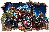Wall Graphics Pegatinas de Pared Agujero en la Pared Vengadores Avengers Adhesivo Decorativo de Pared 76 (L - 70 x 46 cm)