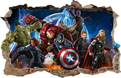 WANDAUFKLEBER Loch in der Wand AVENGERS Hulk Cpt America Dekor Aufkleber Wandtattoo 76 (XL - 100 x 65 cm)