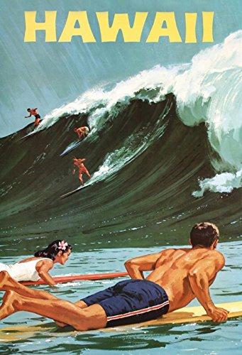 Schatzmix Hawaii surf Waves blaues Metallschild Wanddeko 20x30 tin Sign Blechschild, Mehrfarbig