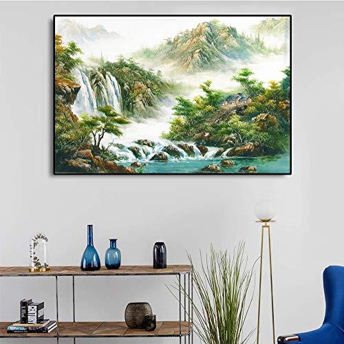 LPaWD Wandkunst Chinesische Landschaftsmalerei Leinwandkunst Vintage Poster und Drucke Home Dekorative Wand Wohnzimmer Wandkünstler Home Decoration A4 70X100cm