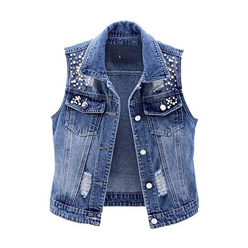 Chaleco sin mangas para mujer, de verano, de mezclilla, informal, corto, pantalones vaqueros con cuentas, con agujeros delgados