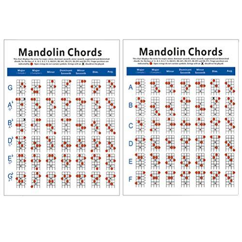EXCEART Mandoline Griffbrett Diagramm Allgemeine Informationen Poster Übungskarte Trainingsanleitung für Instrument Mandoline Klein