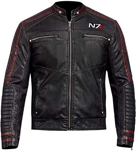 Street Fighter N7 Jacke | Naturleder Schwarz Jacken für Herren | Rock Star Biker Lederjacke | Rider Lederjacke Herren Gr. XL, Schwarz