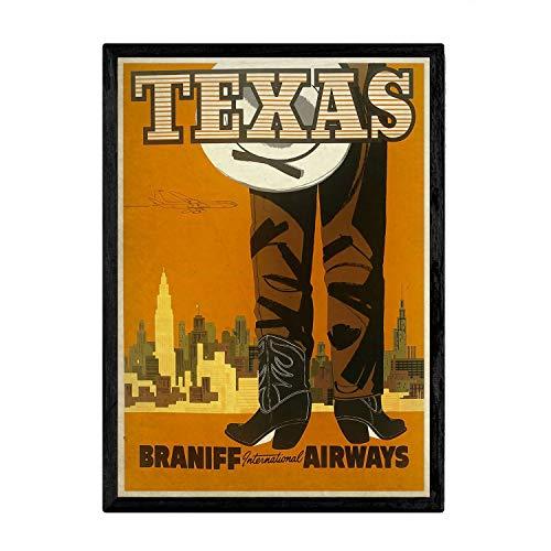 Nacnic Poster Vintage de Tejano. Láminas para Decorar Interiores con imágenes Vintage y de Publicidad Antigua. Cuadros decoración Retro. Tamaño A4 con Marco
