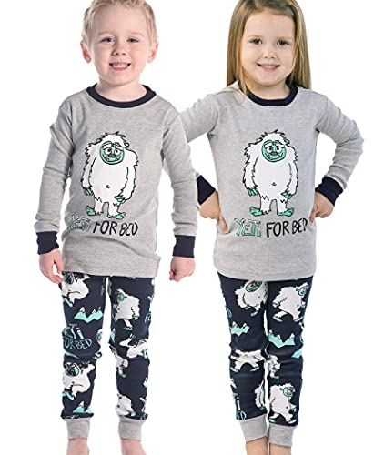 Lazy One Matching Family Pajama Sets for Adults, Kids, and Infants (Yeti for Bed Boy, 6)