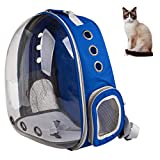 XZKING Cat Carry Backpack, Ventilate Transparent Space Capsule Backpack for Puppies Traveling, Camping and Hiking (Blue)
