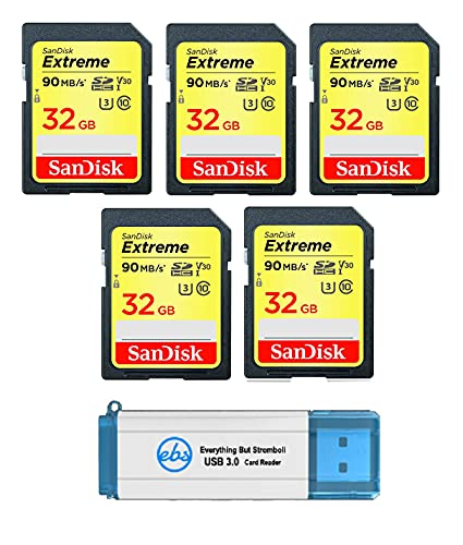 SanDisk Extreme Pro 32 GB SD Card (5 Pack) Speed Class 10 UHS-1 U3 C10 4K 32G SDHC Memory Cards for Compatible Digital Camera, Computer, Trail Cameras