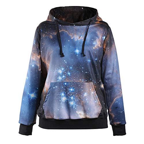 OOFAN Homme Sweats à Capuche Pull Unisex 3D Prints Hoodie Sweatshirt Rêve Ciel étoilé Patterned,A,XL