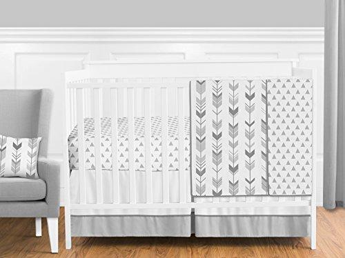 Grey and White Woodland Arrow Boy, Girl, Unisex Baby Crib Bedding Set by Sweet Jojo Designs - 4 Pieces