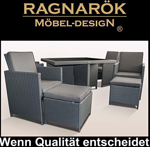 Ragnarök-Möbeldesign PolyRattan - DEUTSCHE Marke - EIGNENE Produktion - 8 Jahre GARANTIE auf UV-Beständigkeit Gartenmöbel Essgruppe Tisch + 4 Stühle & 4 Hocker 12 Polster Platinum Grau - 8