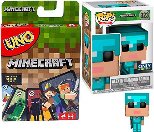 Player Alex Exclusive Gamer Character Compatible with Minecraft Vinyl Pop! Figure Bundled with Classic Uno Matching Card Game Block Theme Deck 2-Items