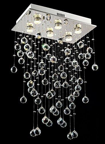 FFAN Lámparas de araña rectangulares Que iluminan Las Luces de Techo de Cristal Modernas en Forma de Gota de Lluvia L50 x W30 x H80 cm