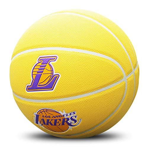 LDLXDR Basketbälle- Basketball Nr. 7 Kobe PU Lederspielbasketball, verwendet für das Indoor- und Outdoor-Training, um Basketball zu Lernen,Yellow-2
