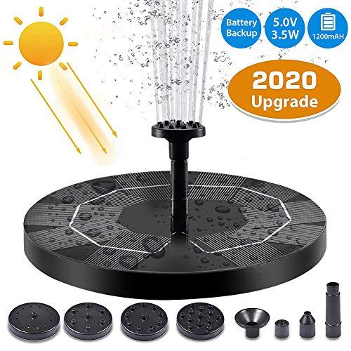 Depmog Solar Fuente Bomba 3.5W, Fuente Flotante de Bomba de Agua Solar Batería incorporada de 1200mAh, Altura de rociado de Agua de 80 cm, con 6 boquillas, para la decoración del jardín