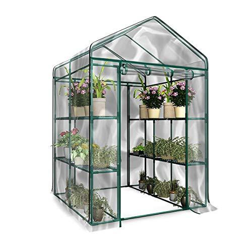 ILS - Invernadero portátil de 3 pisos con 6 baldas, cubierta de PVC, cubierta para jardín, plantas de jardín