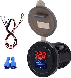 Vosarea 2.1a solo puerto usb adaptador de cargador de teléfono del coche carga rápida del coche led voltímetro de luz roja con cable de 60 cm