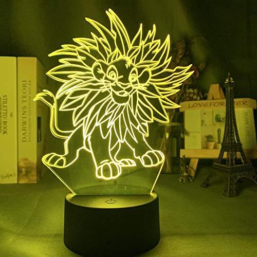 Illusion d'optique 3D Illusion de lumière Lampe Simba Lion King adapté pour chambre enfants anniversaire cadeau de Saint Valentin-Base noire + télécommande_Simba Leaves