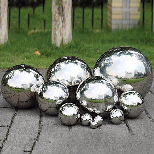 Prokth - Boule de décoration réfléchissante en acier inoxydable 304 - Boule creuse, lisse et flottante pour étang - Ornement de jardin, Acier inoxydable, Silver, 80mm