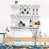 Estantería para vino de pared, portabotellas de vino de pared, con soporte para copas, estantería de almacenamiento de pared, para cocina, salón, bar, cafetería, 100 x 74,5 cm