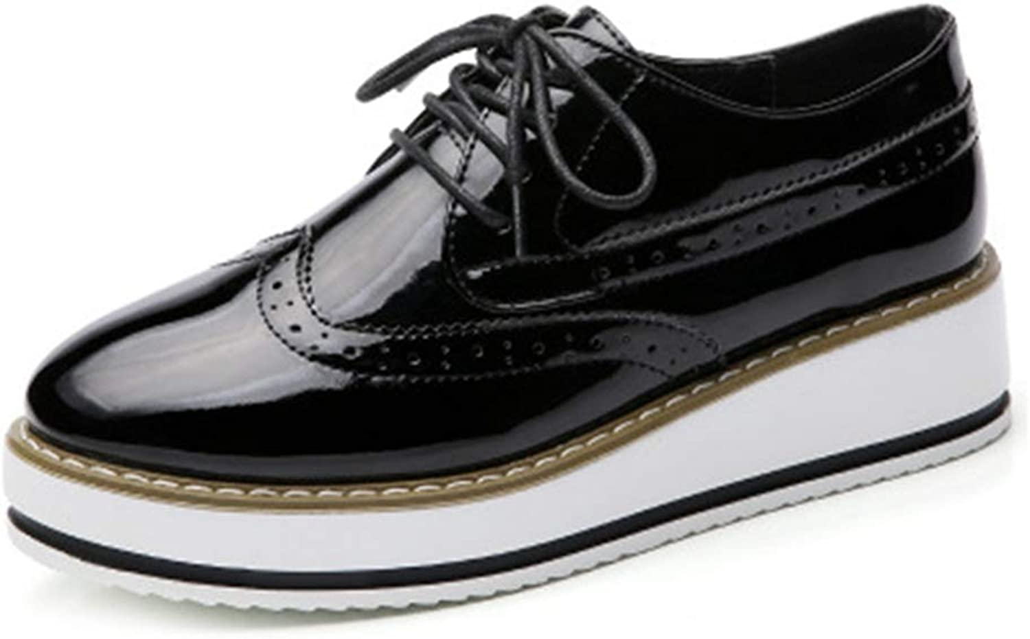 GIY Womens Chunky Platform Oxford shoes Wingtip Lace Up Mid Heel Casual Dress Wedge Oxfords Brogues