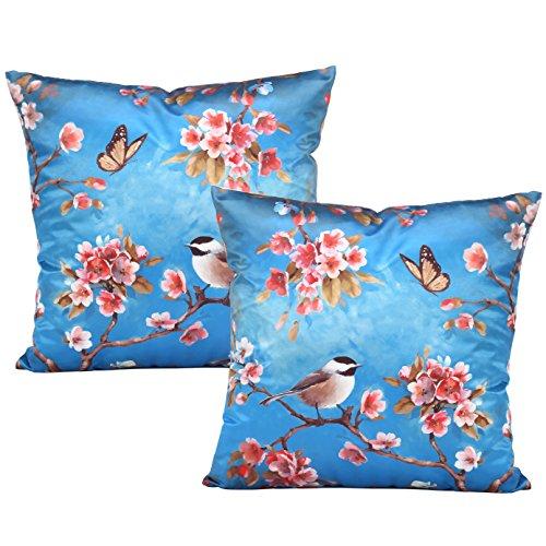 Coucoland Kussenslopen voor bank, bed, sofa, retro, decoratieve sierkussenslopen, bloemenmotief, set van 2 vintage bloemen en vogel, decoratief kussen, 50 x 50 cm