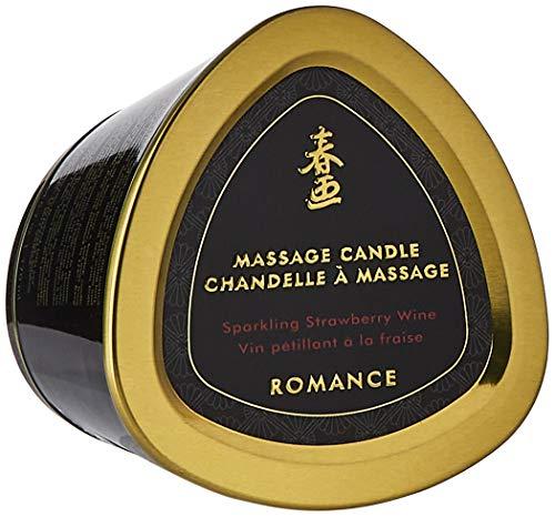 Shunga Vela de Masaje Romance, Aroma de Vino Espumoso con Fresas, Color Blanco - 170 ml, 15.2 x 12.7 x 10.2 cm