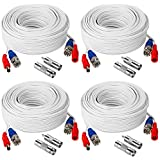 TYUMEN 4 Pack 60FT (18.3 Meters, White) All-in-One BNC Video and Power Security Camera Cables, BNC Extension Surveillance Camera Cables for CCTV Camera DVR Security Systems