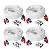 TYUMEN 4 Pack 100FT (30.5 Meters, White) All-in-One BNC Video and Power Security Camera Cables, BNC Extension Surveillance Camera Cables for CCTV Camera DVR Security Systems