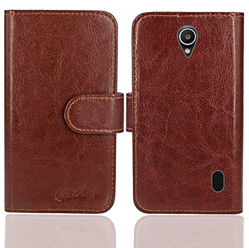Huawei Y635 Handy Tasche, FoneExpert® Wallet Case Flip Cover Hüllen Etui Ledertasche Lederhülle Premium Schutzhülle für Huawei Y635 (Wallet Braun)