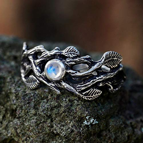 """Sterling Silver Rainbow Moonstone Ring""""Sienna"""" MADE TO ORDER, moonstone engagement ring,anniversary ring, twig ring, nature ring -  BlackTree"""