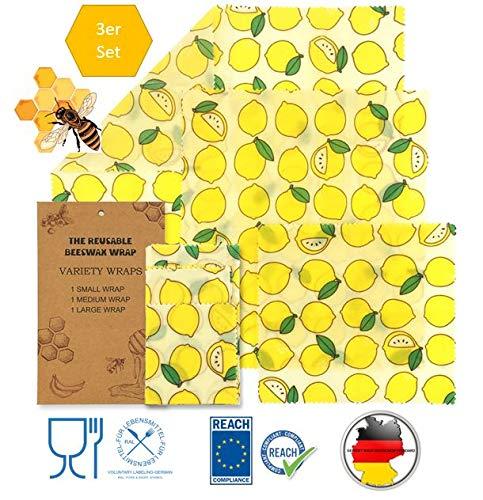 Alexandra Jorra Öko Bienenwachstücher für Lebensmittel, Nachhaltige Verpackung, 3 Stück, Beeswax Wrap, umweltfreundlich, ohne Plastik, Verpackung für Sandwich, Snacks, Obst